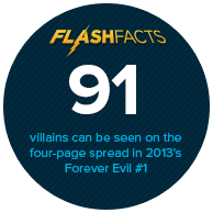 91 villains can be seen on the four-page spread in 2013's Forever Evil #1