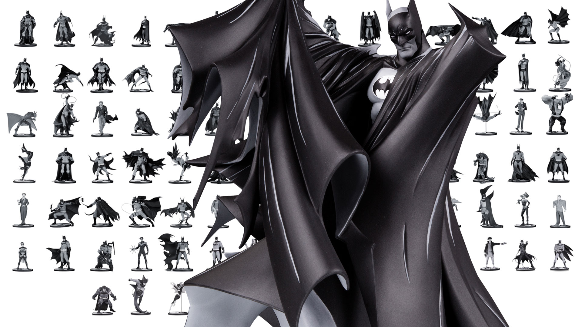Batman black white celebrates its 100th statue dc