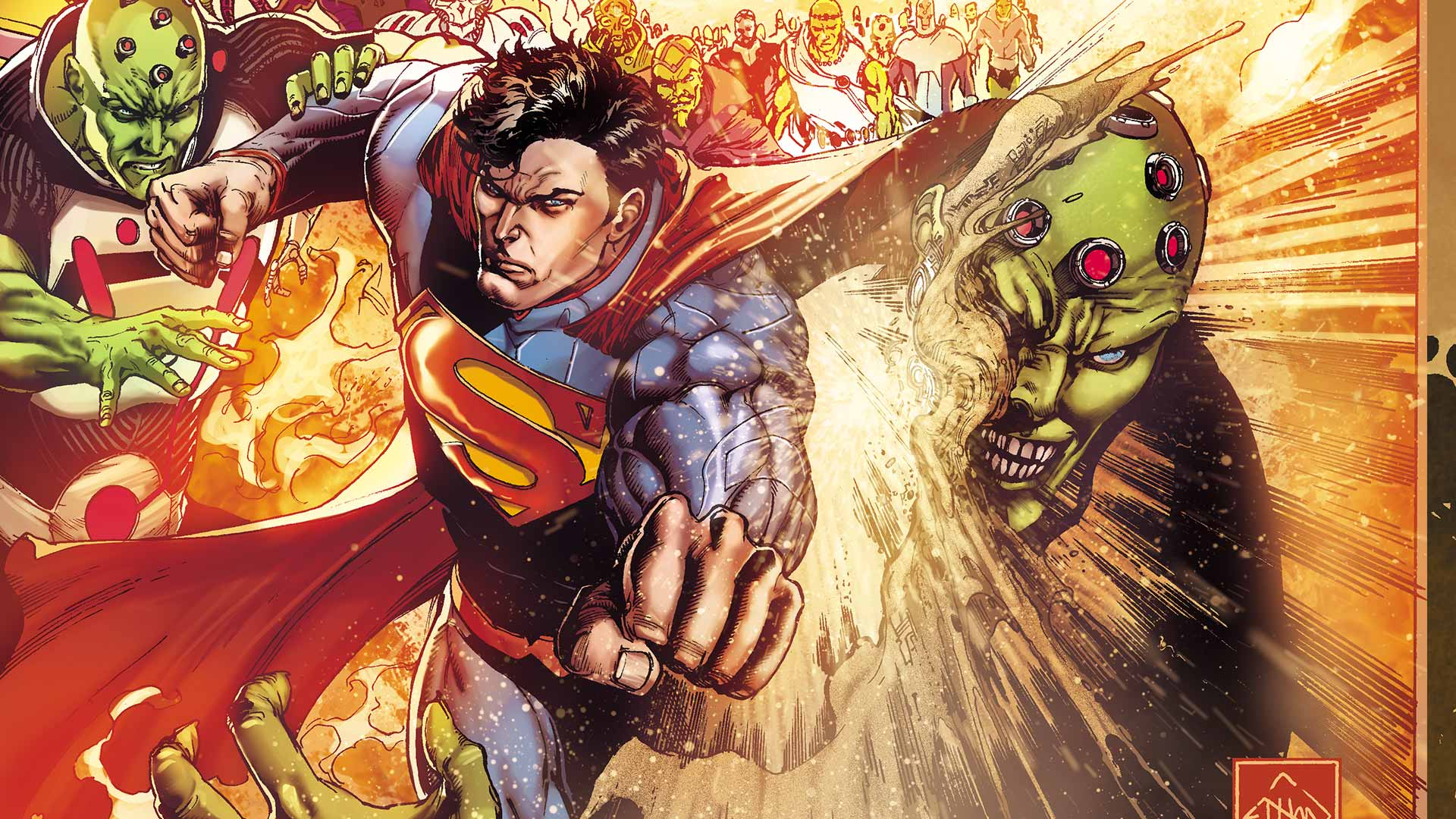 Superman in action with Brainiac
