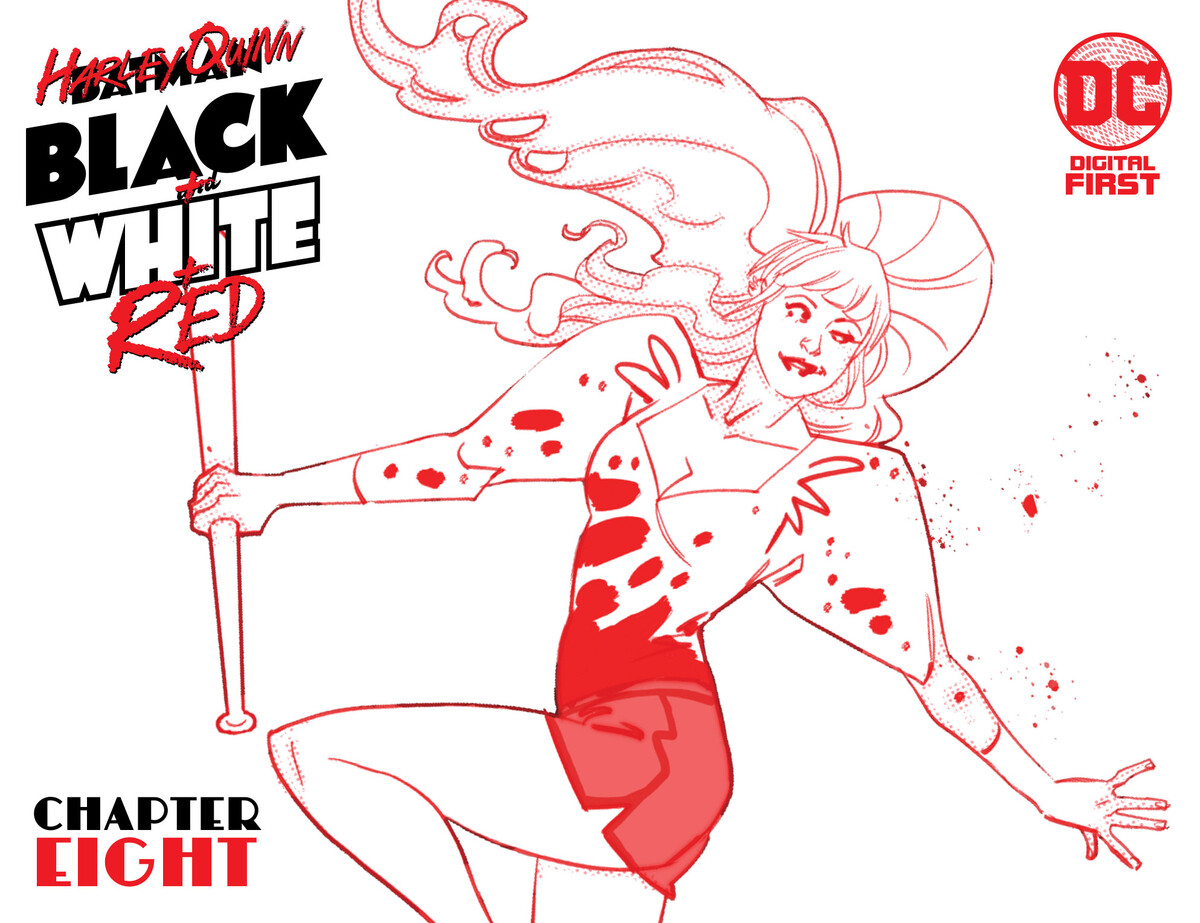 """HQBWR 08 cover 5f36af05807e75.60140815 Harley Quinn Black + White + Red Chapter Eight: """"The End of The Line"""""""