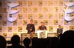 Scott Snyder and editor Mark Doyle accepting the Eisner Award