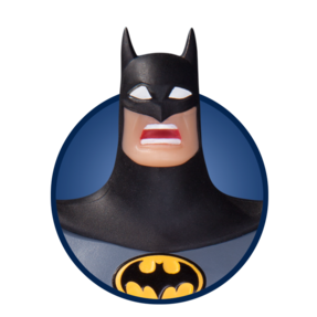 Batman collectible with surprised expression
