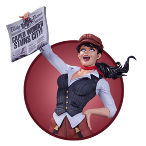 girl with daily planet newspaper